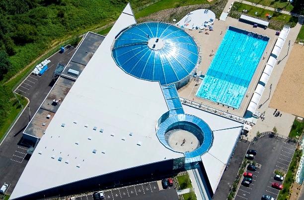 Vue aerienne Stade Aquatique vichy J. Mondiere